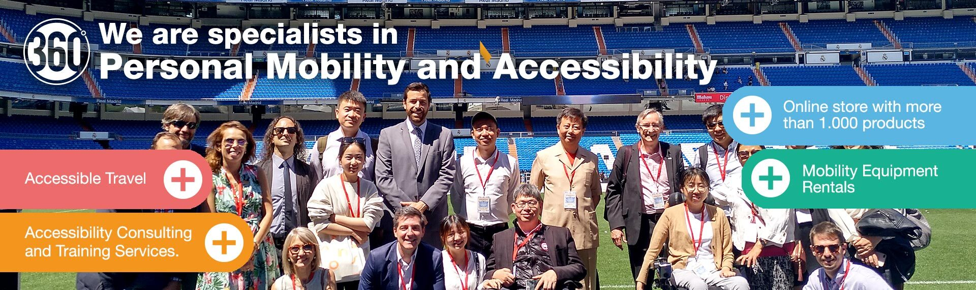 Representatives of the Chinese Government with Accessible Madrid Posan at the Santiago Bernabeu Stadium